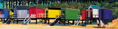 Coastal and Seaside Prints by Brian Lewis,Beach Huts VI